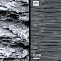 Strukturen von 'unzerbrechlichem Glas' (links) und Perlmutt (Fotos: mcgill.ca)